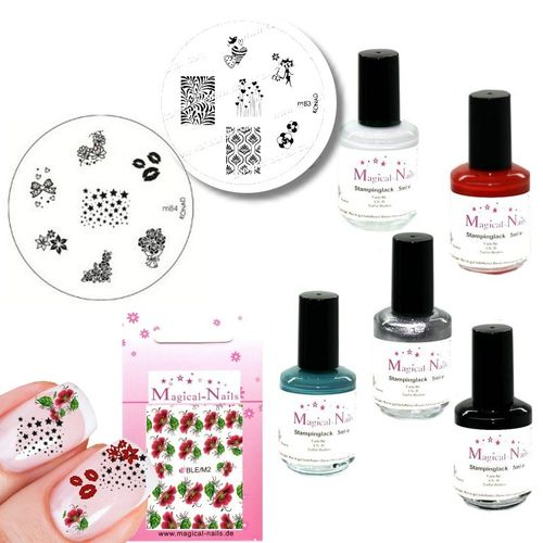 Stamping Set 8 teilig + Gratis Sticker