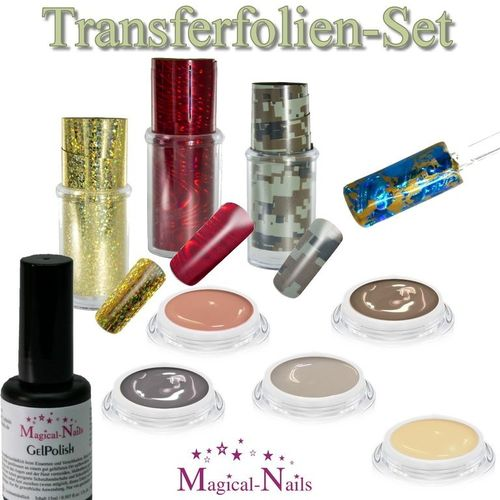 Transferfolien-Set mit 5 Nude Color-Gelen, 3 Folien, Gloss
