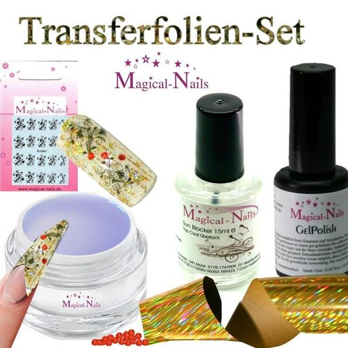 Set-TFF-4, Transferfolien-Set, Gratis...Folie Golden Stripes für 10 Anwendungen