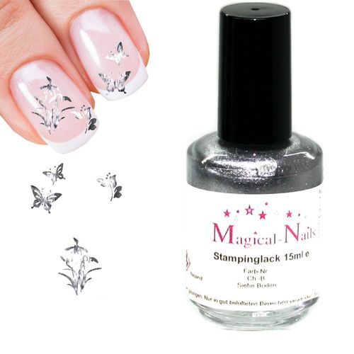 15ml, Stamping Lack, Silber-Glitter-Pearl