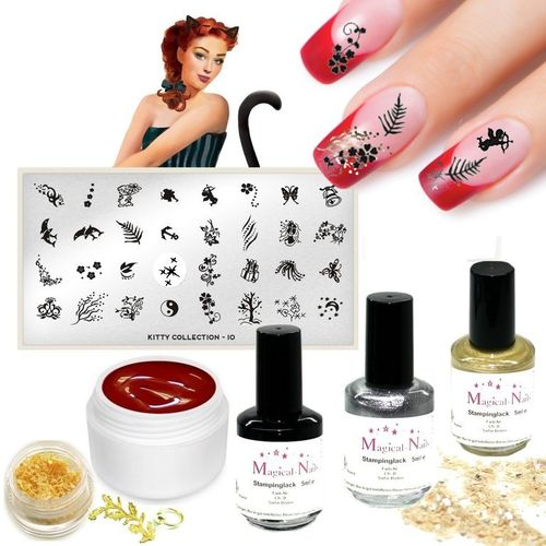 MoYou-Set1, Nailart Stamping Set mit Stamping Schablone, MoYou-London Kitty Collection 10
