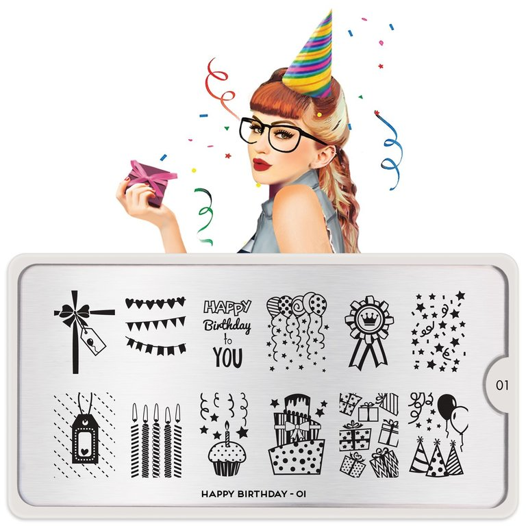 MoYou-London Schablone Happy Birthday 01, Festive Collection, Stamping Schablone XL