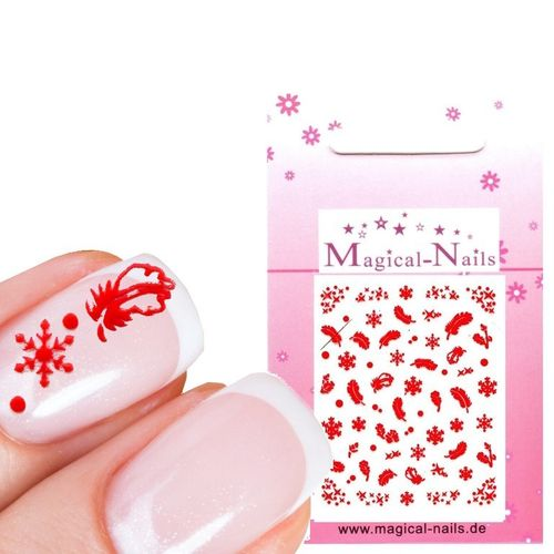 Nail Sticker X-Mas Schneeflocken, Federn Rot - Magical-Nails