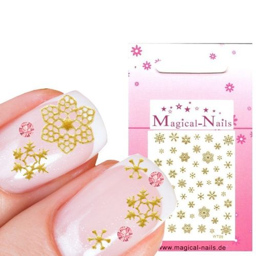 X-Mas Nail Sticker Schneeflocke, Snow Flakes Gold - Magical-Nails