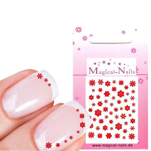 "Nail Sticker ""Rot"" 9 Arten Schneeflocken ca.60 Motive"
