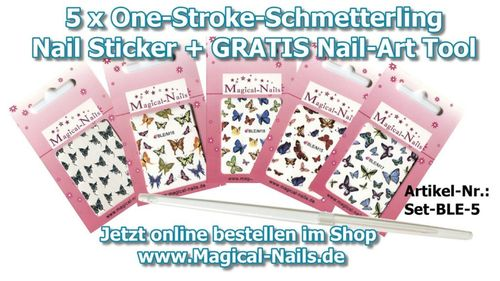 Nagel Aufkleber, Nail Sticker Set 5 Teile + Nail-Art Tool Gratis + Video