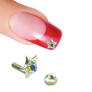 Nail Piercing Sternstecker mit Zirkonia Multi-Color+ 6-Kant-Mutter 925 Sterling-Silber