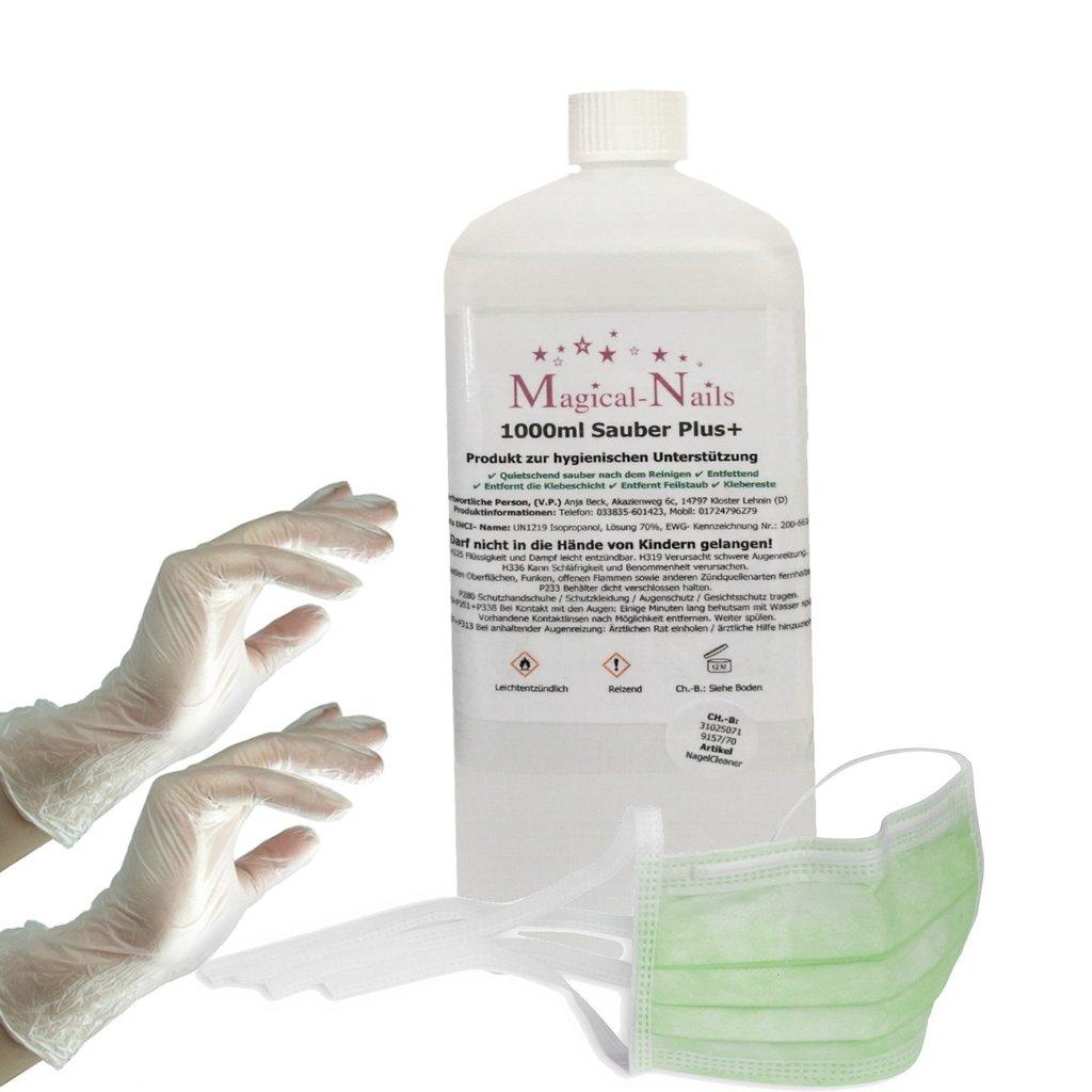 1 L Haut und Hände Lösung 70% Isopropanol + Gratis Gesichtsmaske,Handschuhe S