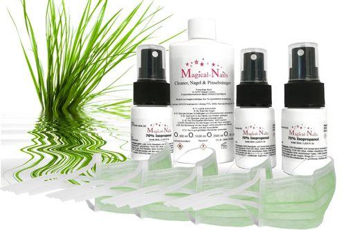 Set- Hygiene- Spray mit 3 x 30ml Sprühflaschen leer 4 Gesichtsmasken + 70% Isopropanol 100ml